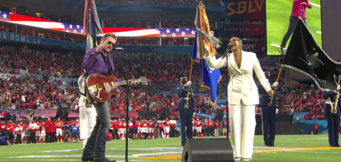 Jazmine Sullivan & Eric Church Sing the National Anthem at Super Bowl LV