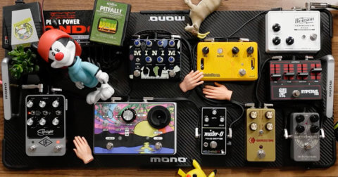 MONO pedalboard carbon with JHS pedals